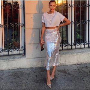 Zara Sequin Pencil Skirt Size Medium